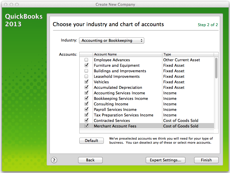 QuickBooks for Mac Company Setup