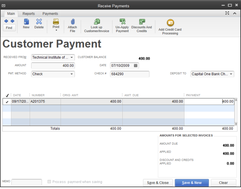 How To Record A Customer Payment For An Invoice In QuickBooks - Open invoice payment method